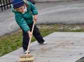 Sweeping outdoors
