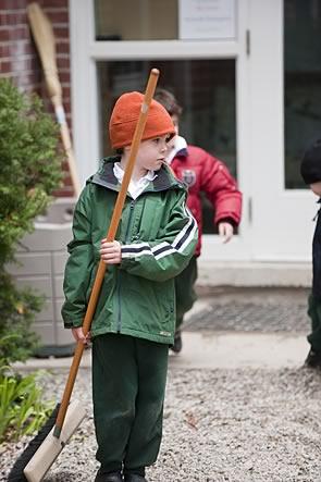 Boy sweeping