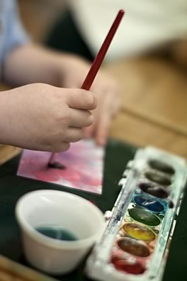 Clanmore student painting with watercolours